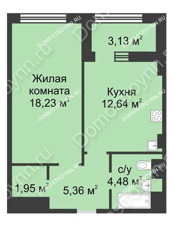 1 комнатная квартира 44,23 м² в ЖК Караваиха, дом № 5