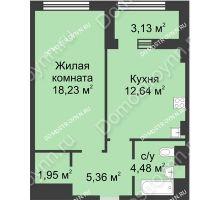1 комнатная квартира 44,23 м² в ЖК Караваиха, дом № 5 - планировка