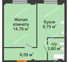 1 комнатная квартира 34,93 м² в ЖК Лайм, дом № 1