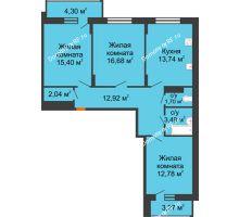 3 комнатная квартира 82,54 м² в ЖК Политехнический, дом 3 секция - планировка