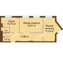 2 комнатная квартира 63,43 м² в ЖК Солнечный, дом № 2