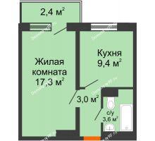 1 комнатная квартира 35,1 м², ЖД Подзолкова - планировка