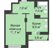 1 комнатная квартира 40,3 м² в ЖК Аквамарин, дом №2