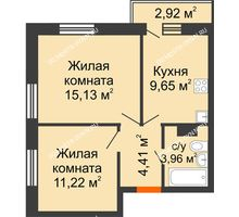 2 комнатная квартира 45,24 м² - ЖК Зеленый берег Life