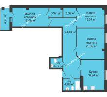 3 комнатная квартира 110,05 м², ЖК Маяк - планировка
