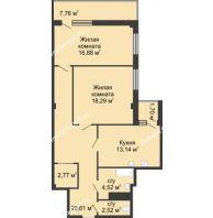 2 комнатная квартира 78,4 м² в  ЖК РИИЖТский Уют, дом Секция 1-2 - планировка