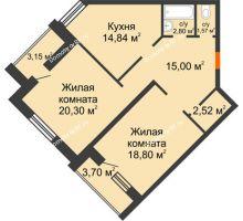 2 комнатная квартира 75,83 м² в ЖК На Гнаровской, дом № 12 корпус 9 - планировка