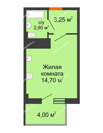 Студия 22,65 м² в ЖК Грин Парк, дом Литер 1