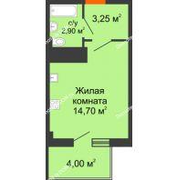 Студия 22,65 м² в ЖК Грин Парк, дом Литер 1 - планировка
