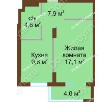 1 комнатная квартира 43,4 м² - ЖК Подкова Сормовская