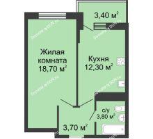 1 комнатная квартира 40,8 м² в ЖК Первый, дом Литер 2 - планировка