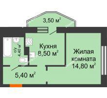 1 комнатная квартира 34,2 м² в ЖК 5 Элемент - Монолит (Пятый Элемент), дом Корпус 5-7 - планировка