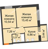 2 комнатная квартира 45,2 м² в ЖК АВИА, дом № 2 - планировка