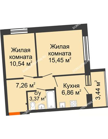 2 комнатная квартира 45,2 м² в ЖК АВИА, дом № 2