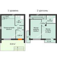 2 комнатный таунхаус 91 м² в Клубный посёлок Панорама, дом Гангутская, 20 (таунхаусы 91м2) - планировка