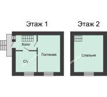 2 комнатная квартира 50 м² в КП Красный сад, дом Тип 2, 50 м² - планировка