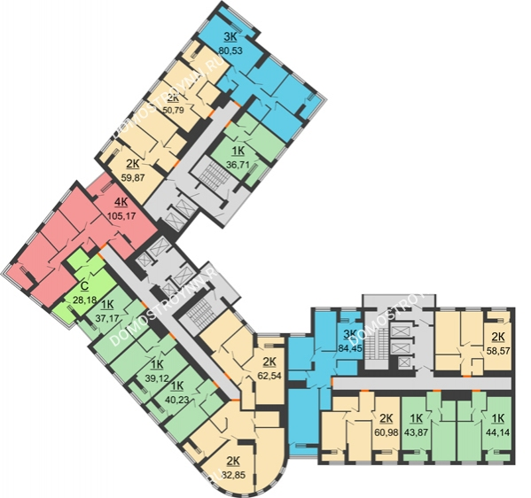 Планировка 15 этажа в доме № 1 в ЖК Дом на Набережной
