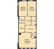 2 комнатная квартира 113,94 м² в ЖК Дом на Провиантской, дом № 12 - планировка