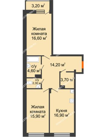 2 комнатная квартира 75,8 м² в ЖК Заречье, дом № 6