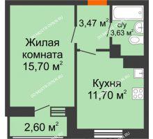 1 комнатная квартира 37,1 м² в ЖК Книги, дом № 2 - планировка