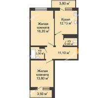 2 комнатная квартира 63,2 м² в ЖК Любимый дом, дом Литер 2 - планировка