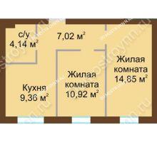 2 комнатная квартира 46,29 м² в ЖК Каменки, дом №14
