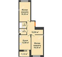 2 комнатная квартира 66,1 м² в ЖК Цветы 2, дом № 4 - планировка