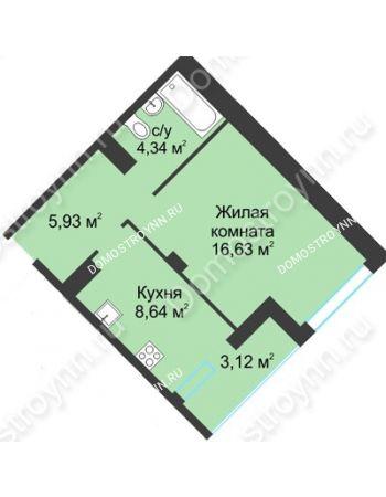 1 комнатная квартира 38,66 м² в ЖК На Вятской, дом № 3 (по генплану)