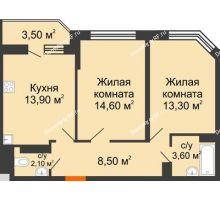 2 комнатная квартира 57,8 м² в ЖК Перспектива, дом Литер 3.5 - планировка