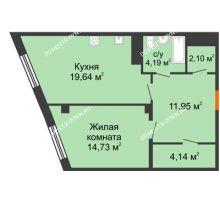 1 комнатная квартира 56,75 м² в ЖК Ренессанс, дом № 1 - планировка