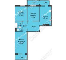 3 комнатная квартира 74,9 м² в ЖК Сормовская сторона, дом № 4