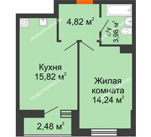 1 комнатная квартира 41,34 м² - ЖК Комарово