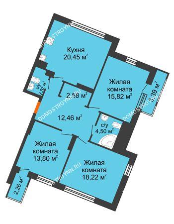 3 комнатная квартира 96 м² в ЖК Книги, дом № 2