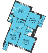 3 комнатная квартира 96 м² в ЖК Книги, дом № 2 - планировка