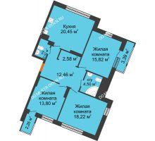 3 комнатная квартира 96 м² в ЖК Книги, дом № 1 - планировка