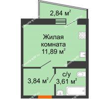1 комнатная квартира 20,76 м² в ЖК Волна, дом 2 очередь (секция 4) - планировка