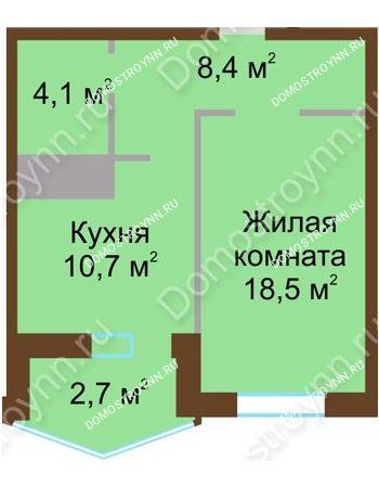 1 комнатная квартира 44,4 м² в ЖК Монолит, дом № 89, корп. 1, 2