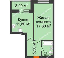 1 комнатная квартира 40,8 м² в ЖК Звездный, дом № 6