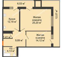 2 комнатная квартира 76,24 м² в ЖК Королев, дом №1 (1,2, подъезд), 1-ая очередь - планировка