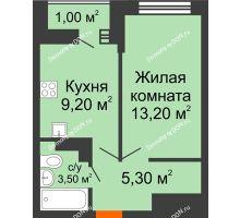 1 комнатная квартира 32,2 м² в ЖК SkyPark (Скайпарк), дом Литер 1, корпус 1, блок-секция 2-3 - планировка