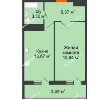 1 комнатная квартира 42,96 м² в ЖК Фамилия, дом Литер 1 - планировка