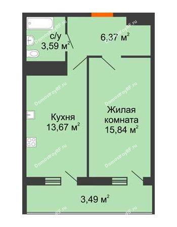 1 комнатная квартира 42,96 м² в ЖК Фамилия, дом Литер 1
