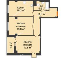 2 комнатная квартира 72,6 м², ЖК Вершина - планировка