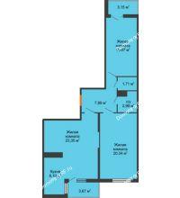 3 комнатная квартира 81,25 м² в ЖК Семейный парк, дом Литер 2 - планировка