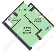 1 комнатная квартира 36,77 м² в ЖК На Вятской, дом № 3 (по генплану) - планировка