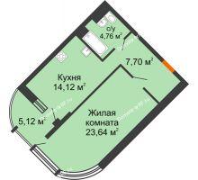 1 комнатная квартира 52,21 м² в ЖК Краснодар Сити, дом Литер 3 - планировка