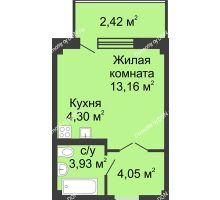 Студия 27,49 м² в ЖК Соловьиная роща, дом № 7 - планировка