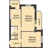 2 комнатная квартира 62,8 м², ЖК 8 марта - планировка