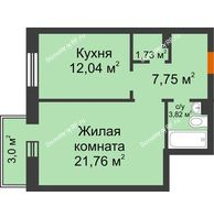 1 комнатная квартира 48 м² в ЖК Новоостровский, дом № 2 корпус 2 - планировка