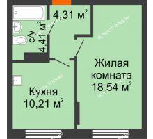 1 комнатная квартира 37,47 м², Жилой дом: ул. Сухопутная - планировка